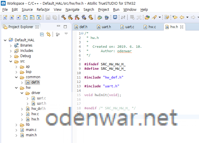 Insert the source code into hw.h