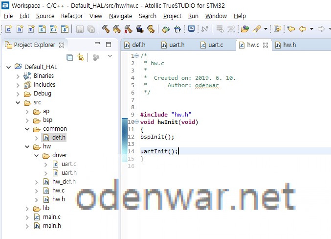 Insert the source code into hw.c