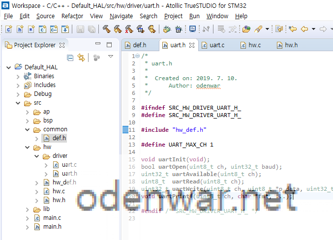 Insert the source code into uart.h